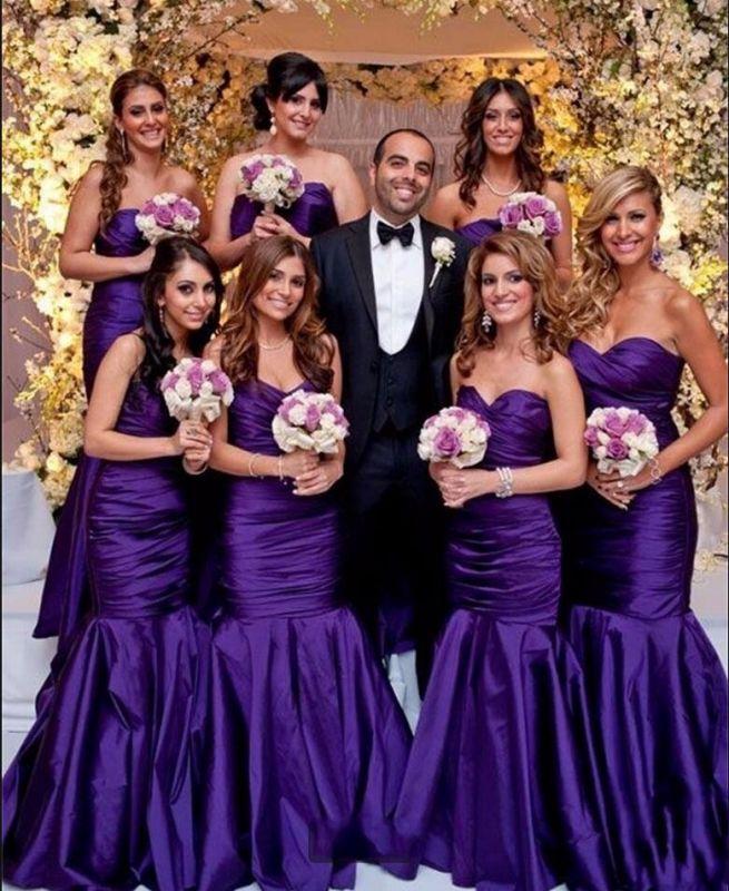 Modern Mermaid Sweetheart Purple Long Bridesmaid Dresses