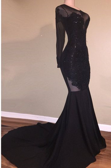 Long Sleeve Black Appliques Evening Gowns   Mermaid Open Back Prom Dresses Cheap