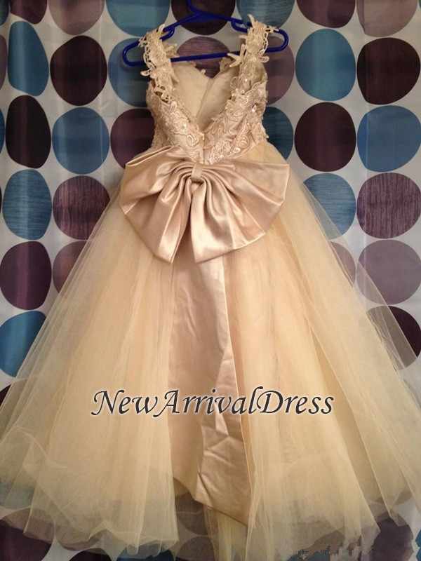 Lace Cute Flower Bowknot Backless Tulle White Girl Dresses