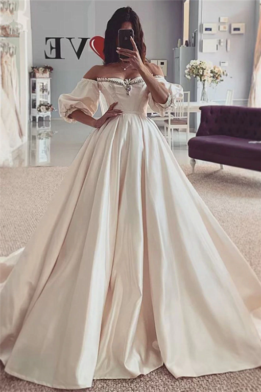 Beads Off The Shoulder Ball Gown Wedding Dresses | Short Sleeve Cheap Bridal Gowns Online
