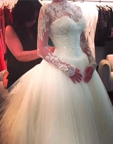 High Neck Lace Custom Made Ball Gown Wedding Dresses Cheap   Beading Crystals Long Sleeve Bridal Gowns