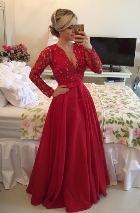 V-Neck Red Long Sleeve Chiffon Prom Dress New Arrival Bowknot Formal Occasion Dress BMT038