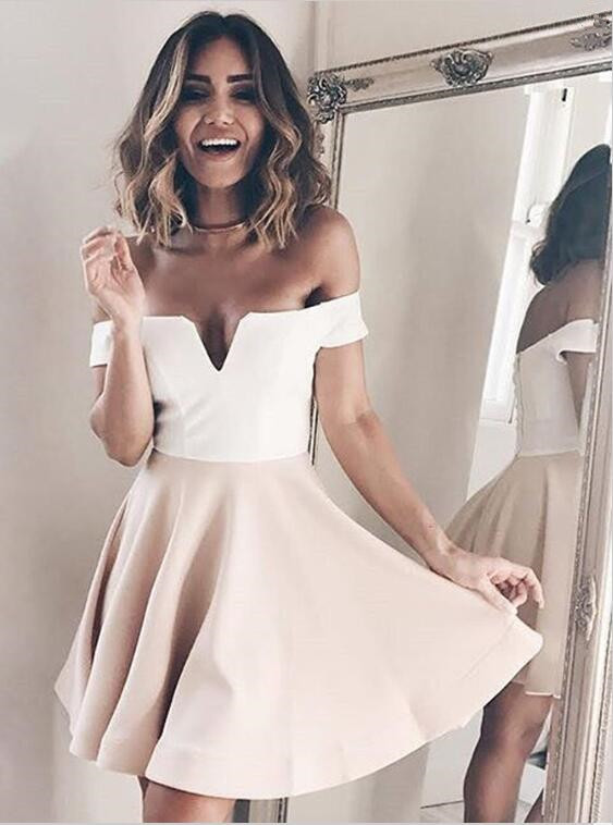 Newest Off-the-shoulder Short A-line Homecoming Dress |Party Gown