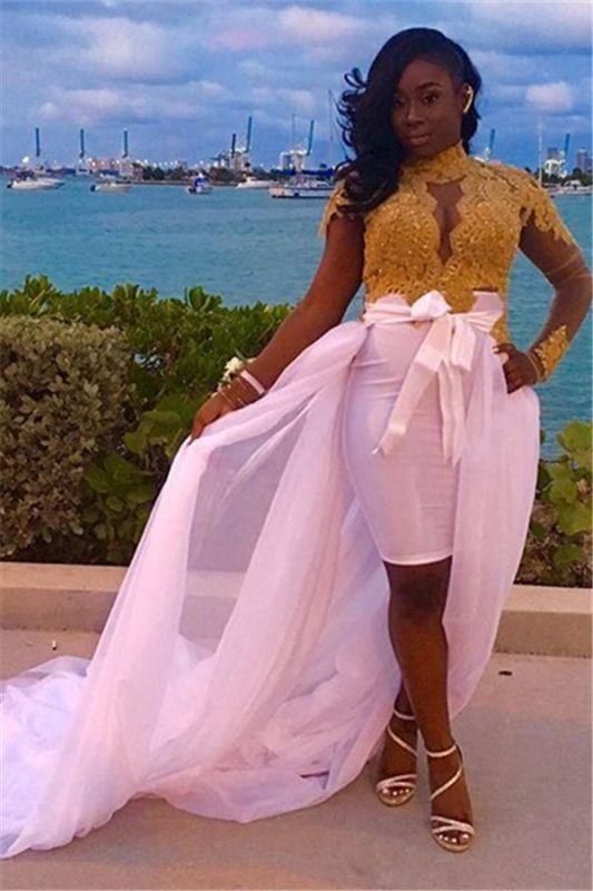 Gold High-Neck Detachable-Skirt Glamorous Lace Long-Sleeves Evening Dresses | Plus Size Prom Dress