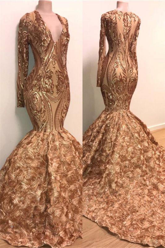 Long Sleeve Mermaid Gold Long Prom Dresses Cheap for Junior | V-neck Flowers Formal Dresses for Women BC1373
