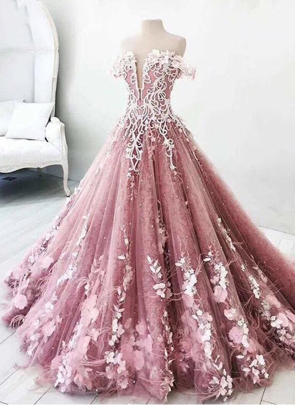 f5f32401882 Fairytale Floral Puffy Prom Dresses