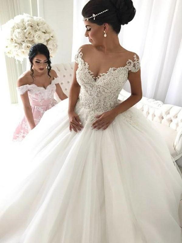 Elegant Sleeveless Cheap Ball Gown Wedding Dresses   Off The Shoulder V-Neck Bridal Gowns Cheap