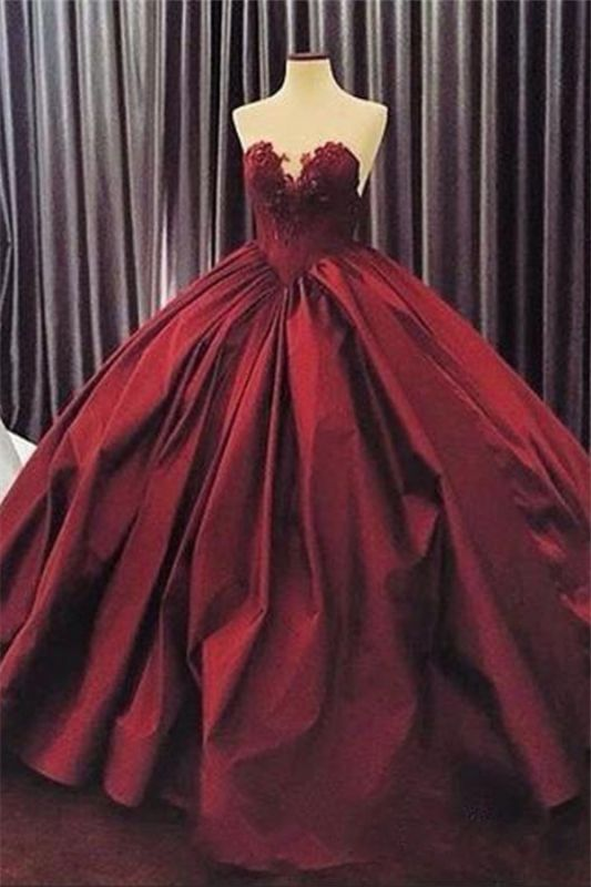 Elegant Sweetheart Ball Gown Evening Dress | Sleeveless Appliques Burgundy Prom Dresses Cheap