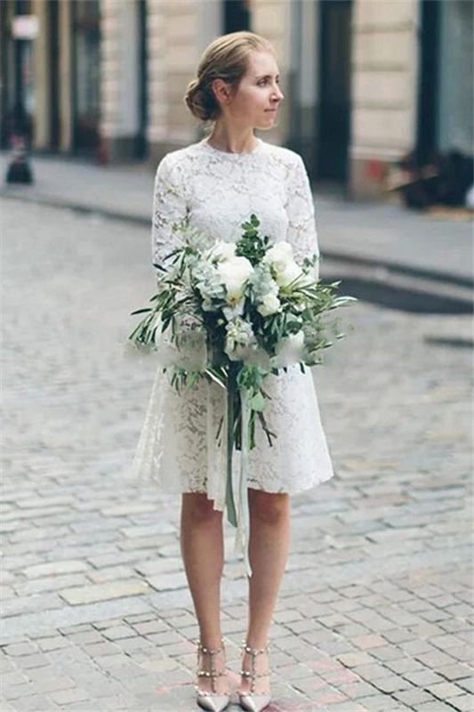 Long Sleeve Lace White Short Wedding Dresses | Chic A-line Cheap Short Bridal Gowns