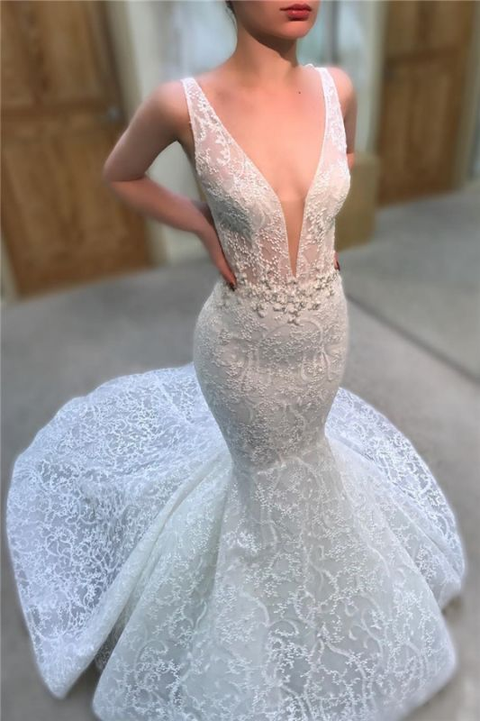 Sexy Straps V-neck Beads Lace Wedding Dresses 2019 | Sleeveless Mermaid Court Train Bridal Gowns