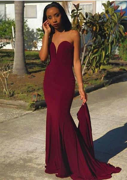 Newest Burgundy Sweetheart Sleeveless Bodycon Sweep Train | Prom Dresses Cheap BA8866