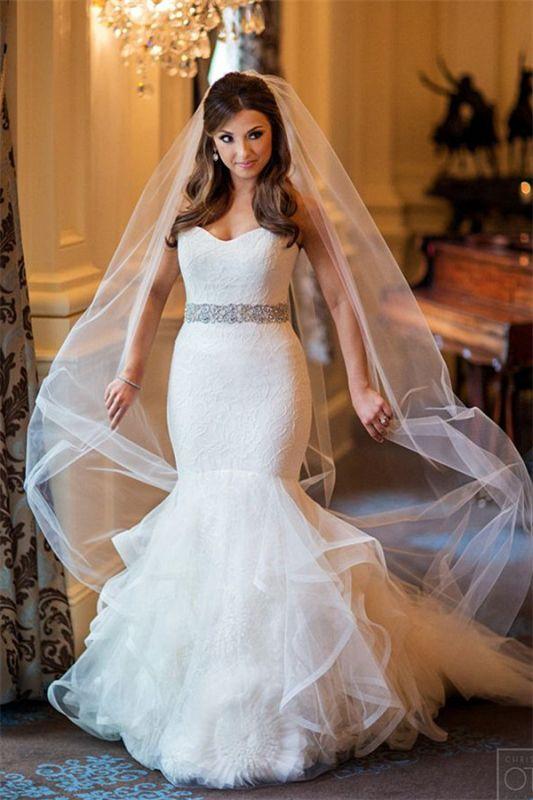 Sweetheart Mermaid Tulle Wedding Dresses Cheap Elegant Bridal Dresses with Crystal Belt