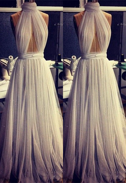 Custom Made A-line Tulle High Neck New Arrival Sleeveless Prom Dresses Cheap