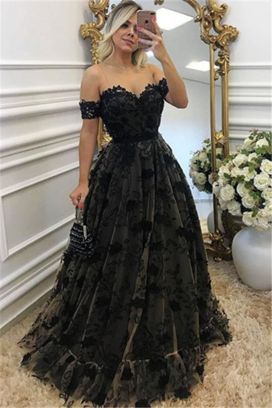 Sexy Black Lace Neck Applique Short Sleeves Long Formal Prom Dresses