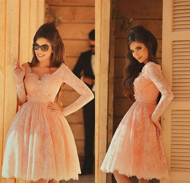 Lace Short Pearl Pink Prom DressesBeaded Long Sleeves Formal Party Dresses