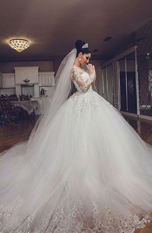 Luxurious Tulle Elegant Long Sleeve Cheap Online Sweetheart Ball Gown Wedding Dresses