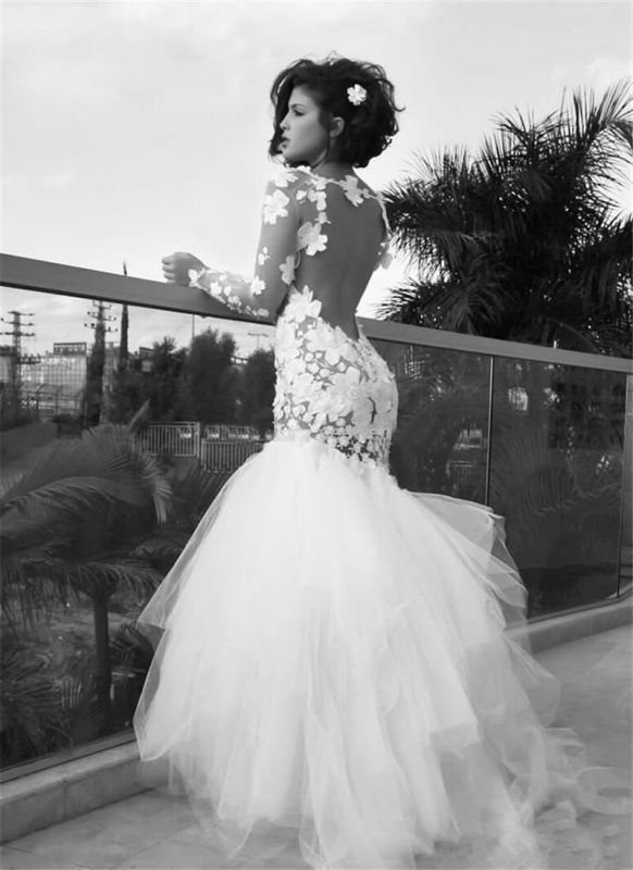 Retro Mermaid White Wedding Dresses with Sleeves | Backless Long Sleeve Tulle Bridal Gowns