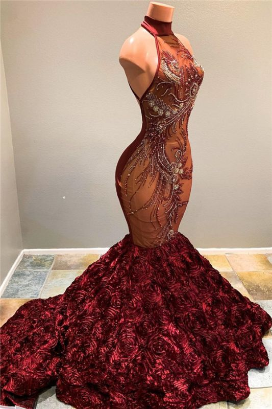 Burgundy Long Prom Dresses Cheap Plus Size | Beads Mermaid Evening Dress for Formal bc1634