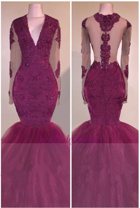 V-Neck Burgundy Tulle Mermaid Evening Gowns   Beaded Long Sleeve Appliques Prom Dresses Cheap