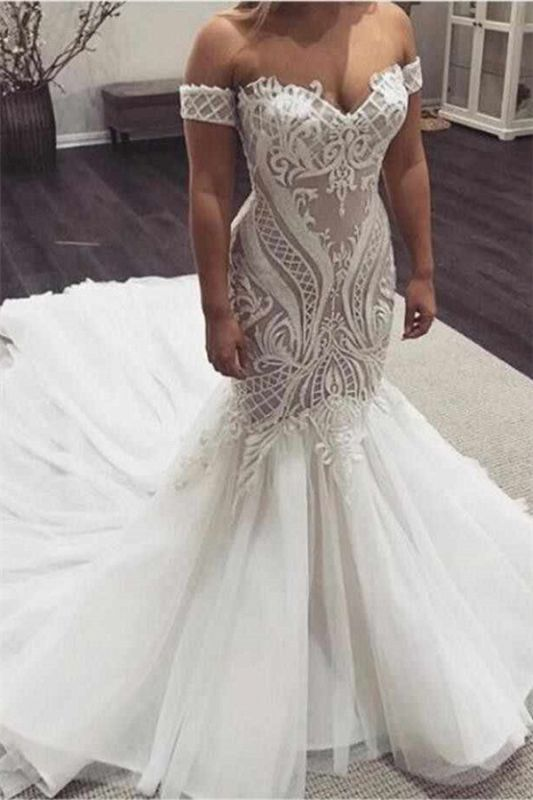 Off The Shoulder Mermaid Appliques Wedding Dresses | Sleeveless Cheap Bridal Gowns
