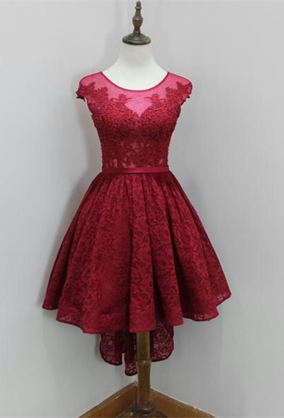 Modest Red Lace Appliques Hi-Lo Cap Sleeve Sexy Short Homecoming Dresses