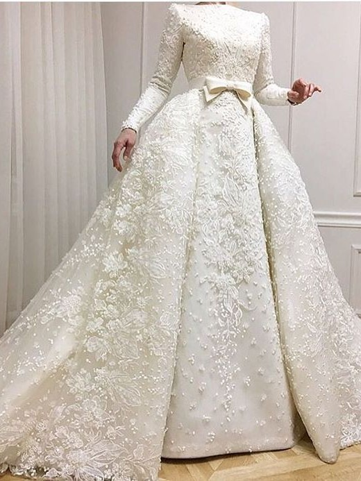 Muslim Lace Appliques Jewel Ball Gown Bridal Dress | Luxury Beaded Overskirt Long Sleeve Wedding Dresses Cheap Online