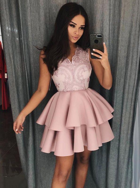 a660fc0d458 Newest Lace Ruffled A-line Sleeveless Short Homecoming Dress  Item Code   D153690538124241
