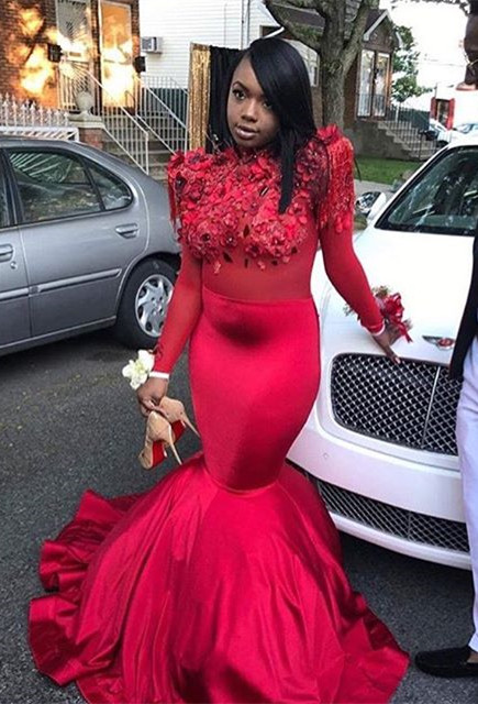 Modern Flowers Long Sleeve Red Mermaid Prom Dress | Prom Dress