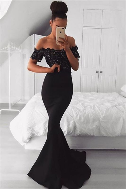 Black Off the Shoulder Lace Mermaid Prom Dresses | Short Sleeves Formal Gowns