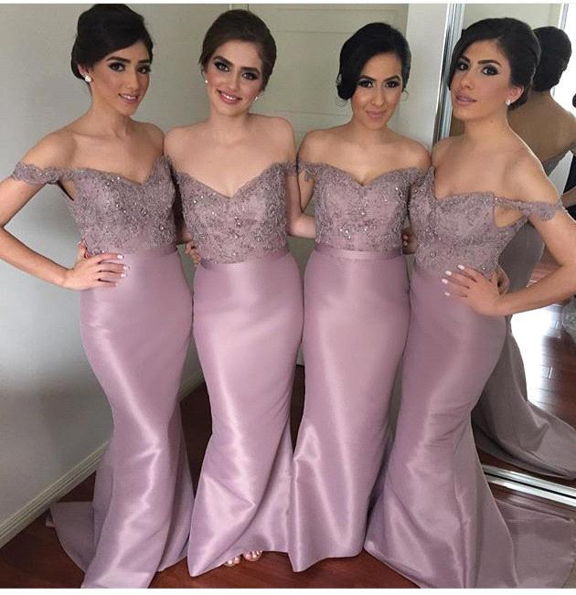 Elegant Lace Appliques Bridesmaid Dresses Mermaid Off-the-Shoulder Prom Dress