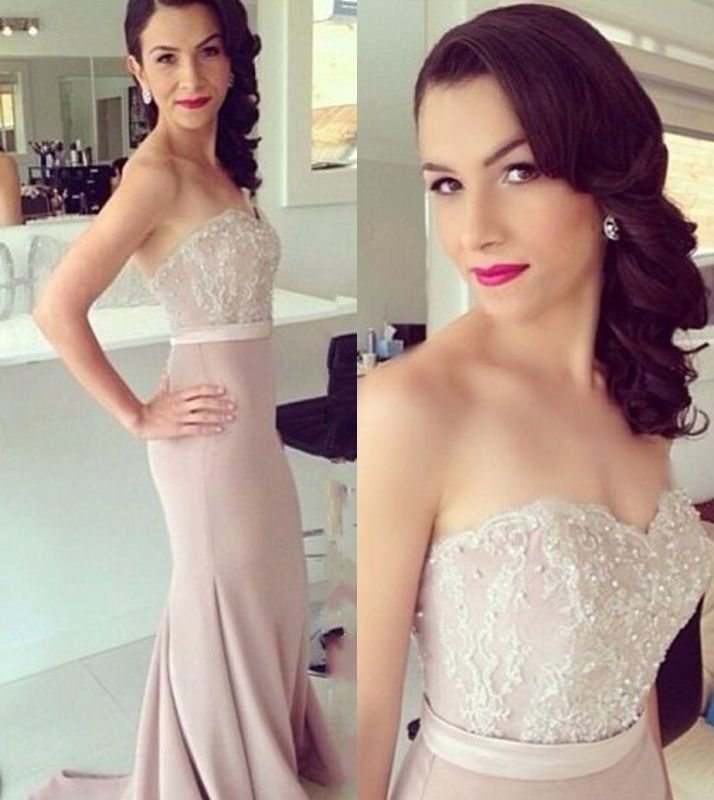 b646dd1c719 New Strapless Sweetheart Lace Beaded Mermaid Bridesmaid Dresses Pearl Pink  Maid of Honor Dresses  Item Code  D153793120916385