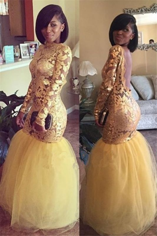 Long Sleeves Backless Prom Dresses | Tulle Sexy Mermaid Lace Evening Gowns