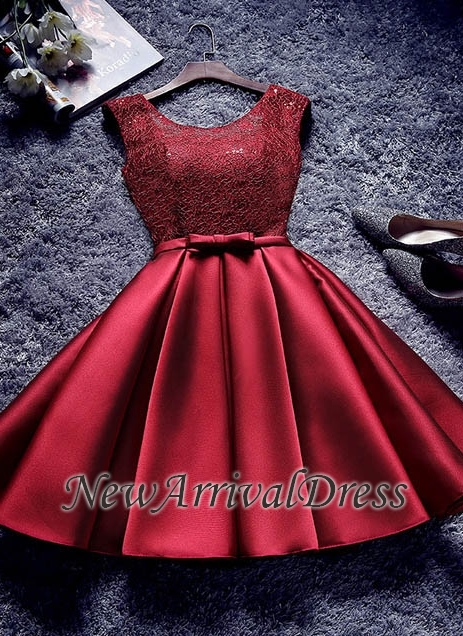 Bowknot Sash Lace-Up-Back Red Custom Made A-line Sexy Short Homecoming Dresses