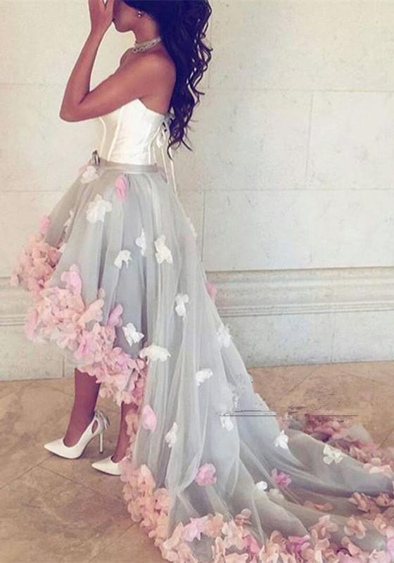 Newest Flowers Hi-Lo A-line Sleeveless Sweetheart Prom Dress