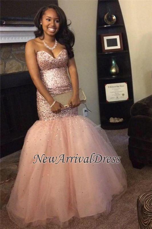 88b34e91f9a8 Sleeveless Pink Gorgeous Tulle Sequins Mermaid Sweetheart Prom Dresses [Item  Code: D153413443158379]