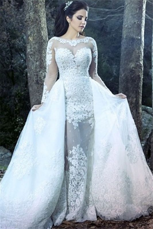 Sheath Beautiful Lace Long Sleeve Amazing Sheer Tulle Overskirt Wedding Dresses