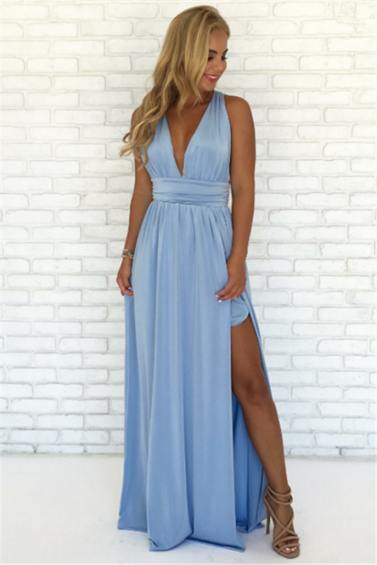 Crisscross Side Split Blue Formal Dresses Cheap | V-neck Sexy Formal Party Dress Online