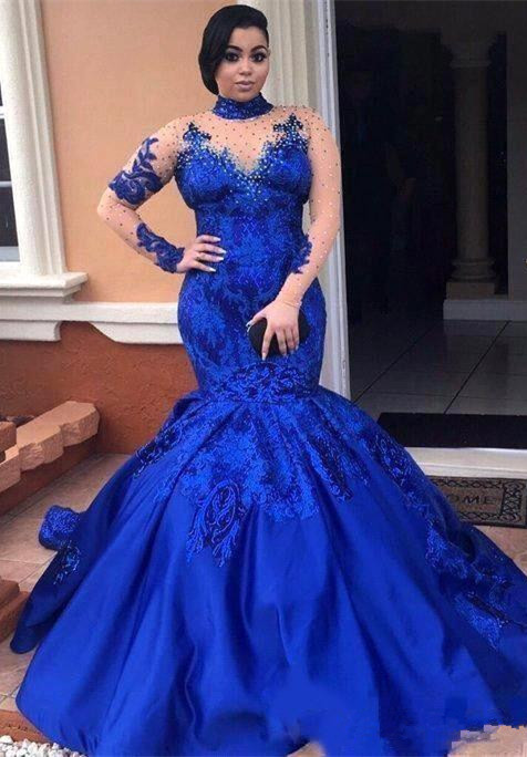 Royal-Blue Long-SleeveProm Dress | Mermaid Lace Evening Gowns