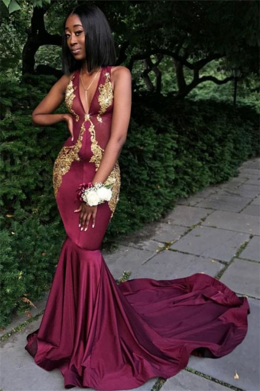 Sexy Burgundy V-Neck Sleeveless Prom Dresses   Long Mermaid Appliques Formal Dresses SK0093