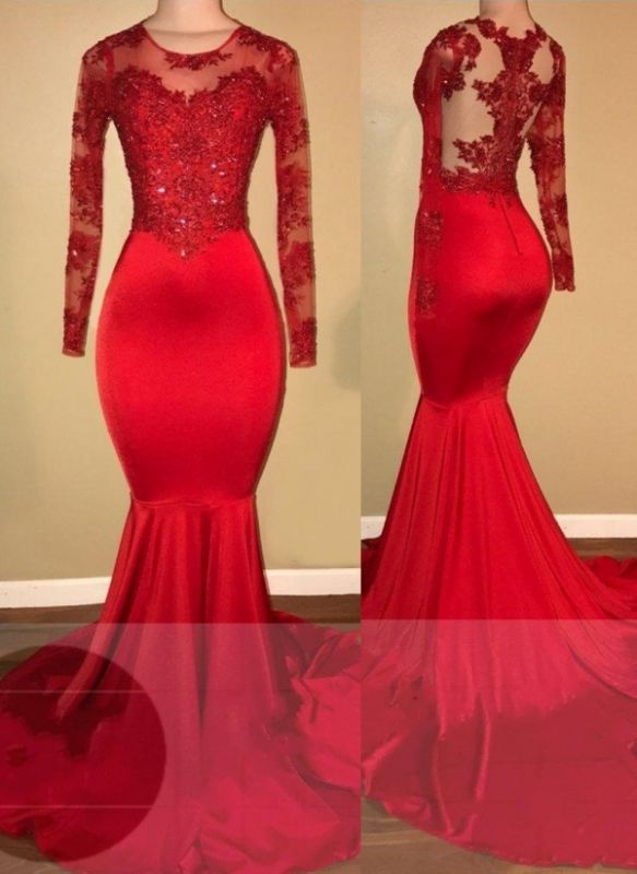 Mermaid Long Sleeve Red Appliques Sheer Amazing Prom Dresses Cheap BA7856