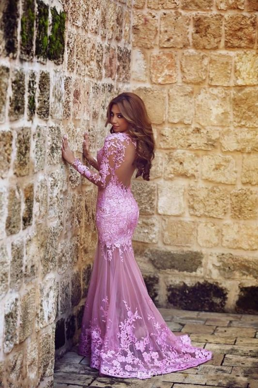 Lilac Long Sleeves Mermaid Prom Dresses Sheer Lace Backless Sexy Evening Gowns