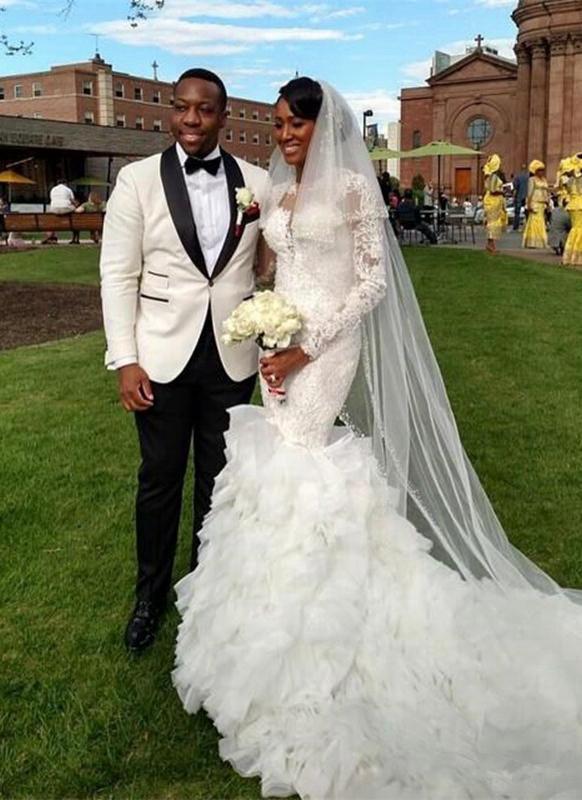 Elegant New Arrival Beautiful Lace Appliques Ruffles Mermaid Wedding Dresses