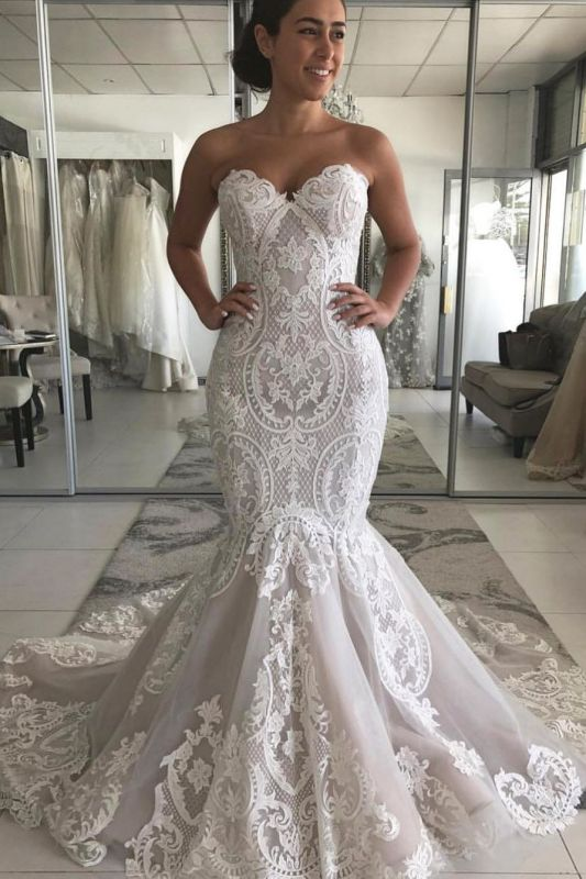 Mermaid Strapless Lace Appliques Wedding Dresses | Cheap Sexy Open Back Bridal Gowns
