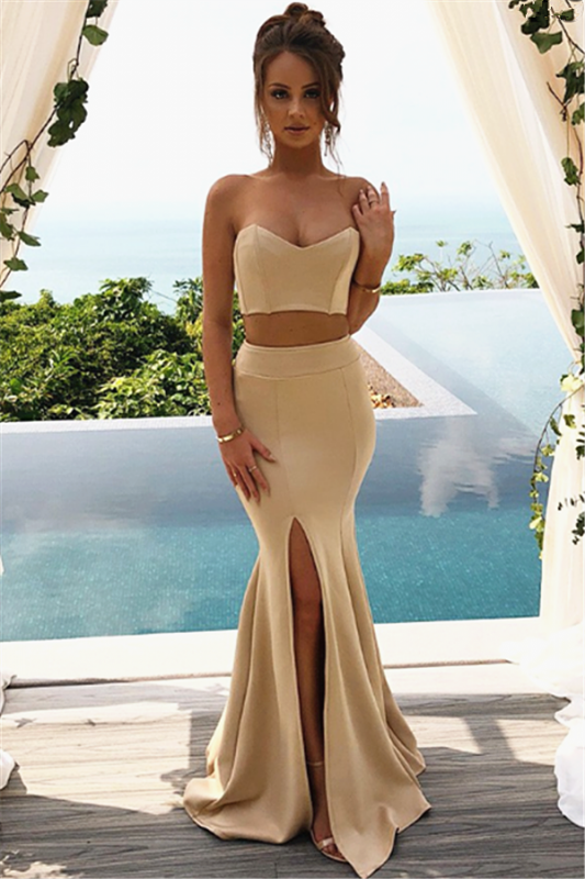 Two Piece Sweetheart Champagne Formal Dresses   Cheap Close-fitting Formal Prom Dress with Split