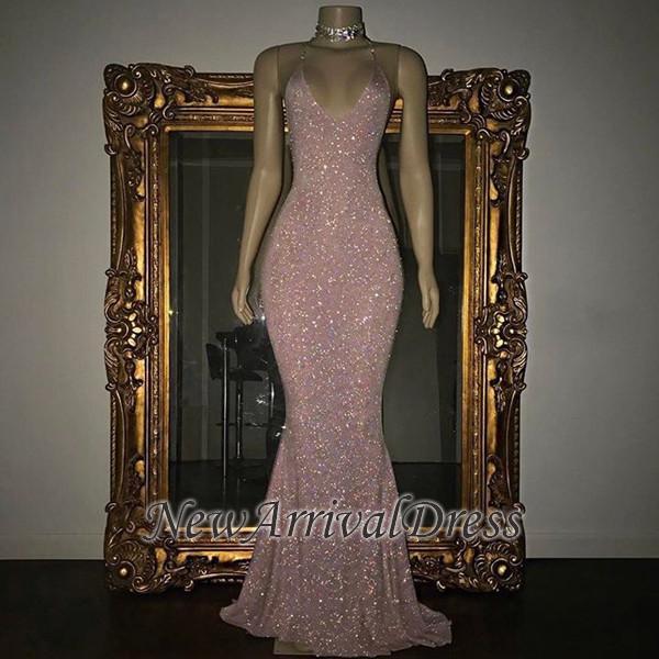 Stunning Mermaid Spaghetti Straps Sequined Sleeveless Prom Dresses Cheap sp0311