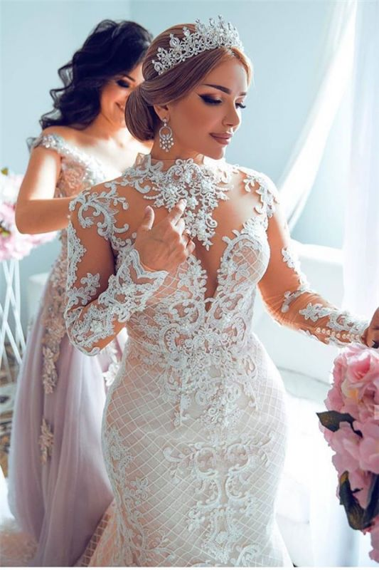 Gorgeous Sheer Tulle Lace Appliques Wedding Dresses | Long Sleeve High Neck Bridal Gowns with Court Train