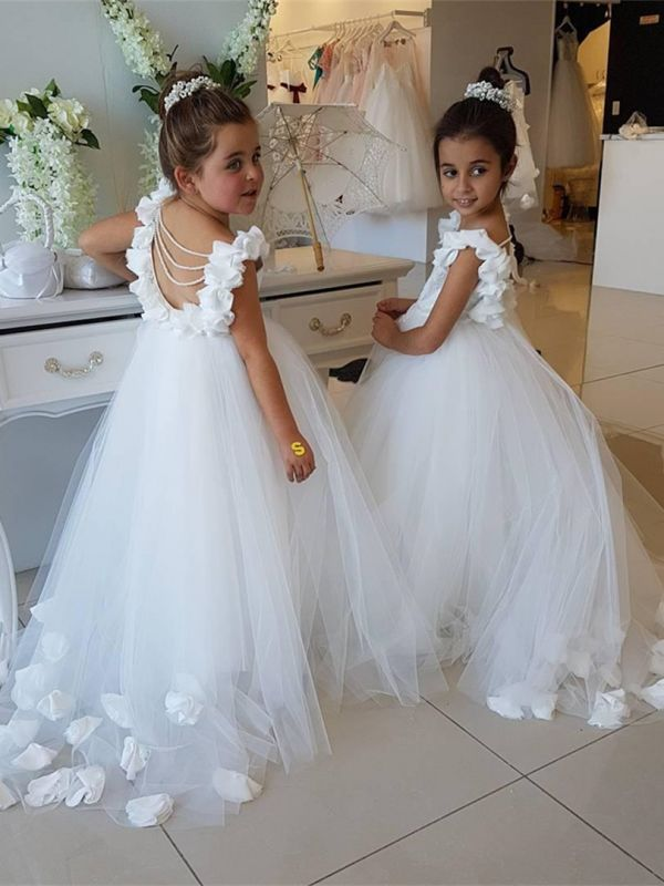 Modest White Cap Sleeve Scoop Cute Flower Girl Dress