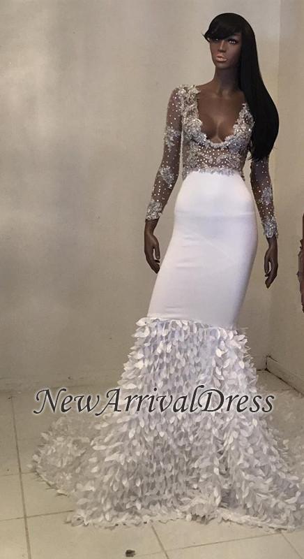 Long-Sleeve Mermaid Gorgeous Beadings V-Neck Prom Dress  Item Code   D153413448368377  00a6890e5