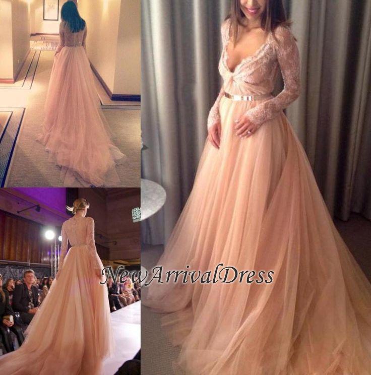 Lace Tulle Beautiful Long-Sleeve Long V-Neck Evening Dress