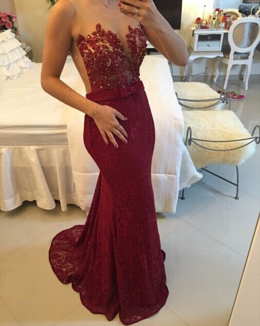 Burgundy Lace Applique Beading Mermaid Prom DressesSheer Tulle New Evening Gowns BT00